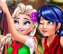 Ladybug und Elsa: Weihnachtsselfie